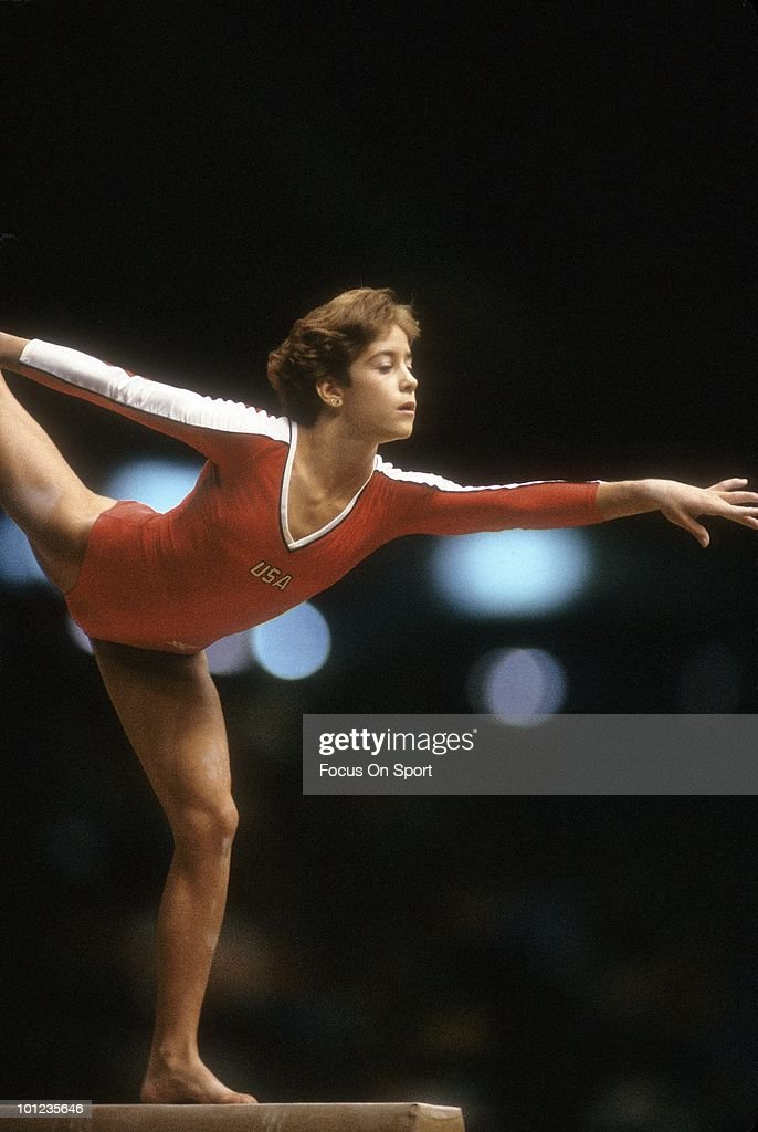CIRCA 1980's: Ladies Gymnast Phoebe Mills competes on the balance beam circa late 1980's.