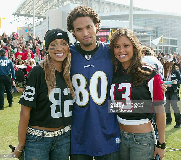 S LaLa, Quddus, and Vanessa Minnillo at the MTV's Total Request Live on Super Bowl Sunday on February 1, 2004 at Reliant Park, in Houston, Texas.