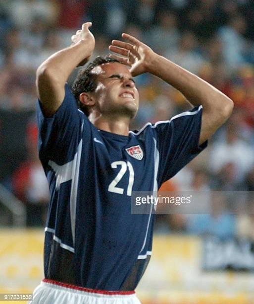 S Landon Donovan reacts after a missed goalmouth opportunity, 21 June 2002 at the Munsu Football Stadium in Ulsan, during quarter-final action...