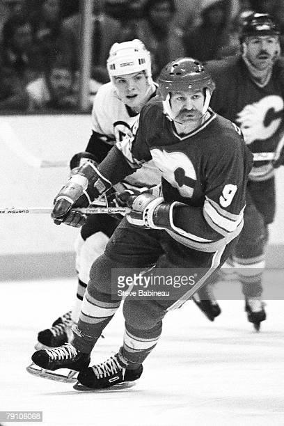 BOSTON 1980's Lanny McDonald of the Calgary Flames skates against the Boston Bruins at Boston Garden