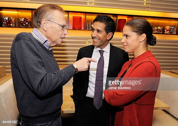 CNN's Larry King Dr Sanjay Gupta and Soledad O'Brien attend CNN's Dr Sanjay Gupta Cheating Death Book Party at Rogue Tomate on December 14 2009 in...