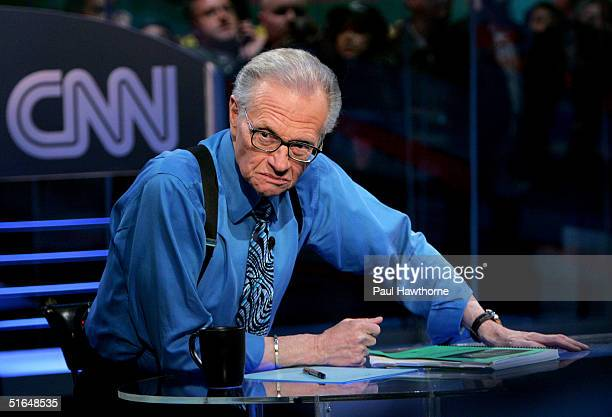 CNN's Larry King during the election night results program at the NASDAQ building in Times Square November 2 2004 in New York City