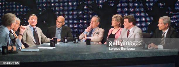 CNN's Larry King interviews Don Hewitt Mike Wallace Ed Bradley Morley Safer Lesley Stahl Steve Kroft and Bob Simon of the 60 Minutes anchor team...