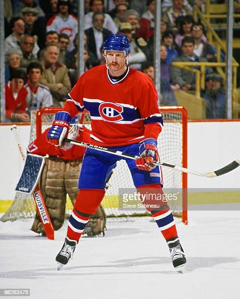 BOSTON MA 1980's Larry Robinson of the Montreal Canadiens skates against the Boston Bruins at Boston Garden