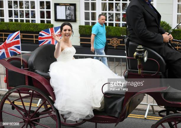 GMTV's Laura Tobin rides a horsedrawn carriage during Prince Harry and Meghan Markle's Wedding preparations today on May 16 2018 in Windsor England