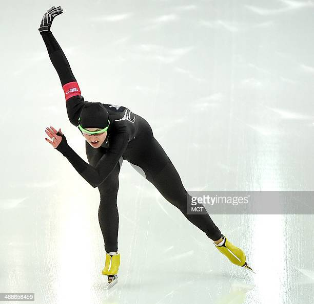USA's Lauren Cholewinski competes during the Ladies 500 meter speed skating race at Adler Arena during the Winter Olympics in Sochi Russia Tuesday...