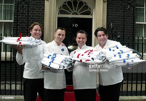 UK's leading chefs James Martin Gary Rhodes Tony Martin and Ross Burden arrive at No 10 Downing Street in London 26 March 2002 to present a petition...
