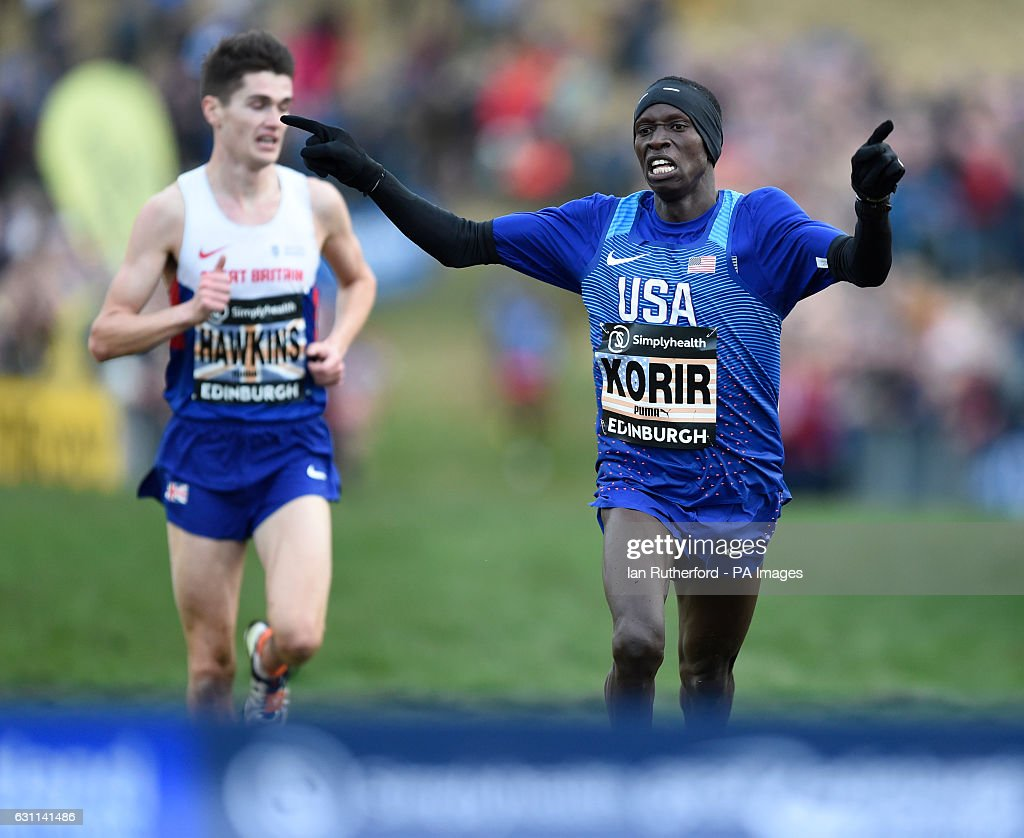 USA's Leonard Korir (right) wins the Men's 8k race with Great Britain's Callum Hawkins coming in second during the 2017 Great Edinburgh International XCountry in Holyrood Park.