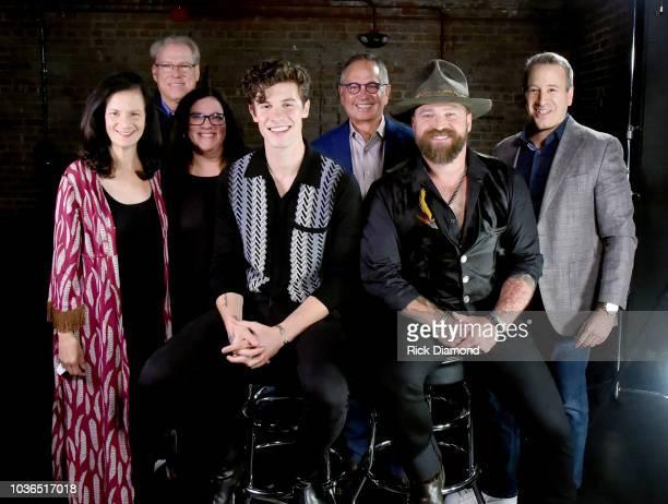 CMT's Leslie Fram John Hamlin Margaret Comeaux artist Shawn Mendes president of Paramount Network TV Land and CMT's Kevin Kay artist Zac Brown of Zac...