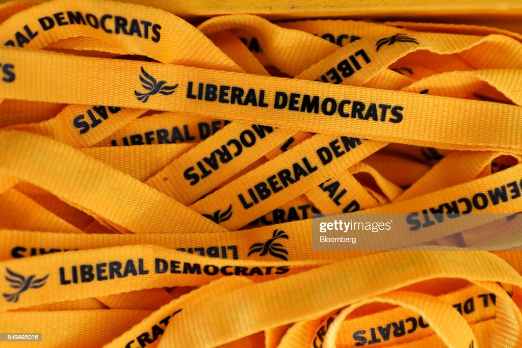 U.K.'s Liberal Democrat Party lanyards sit at the party's annual conference in Bournemouth, U.K., on Tuesday, Sept. 19, 2017. Cable said U.K. Prime Minister Theresa May should fire her foreign secretary, Boris Johnson, over an article he published on Saturday about Britains departure from the European Union. Photographer: Luke MacGregor/Bloomberg via Getty Images