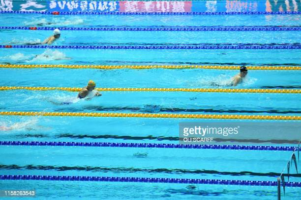 USA's Lilly King competes in the final of the women's 4x100m medley relay event during the swimming competition at the 2019 World Championships at...