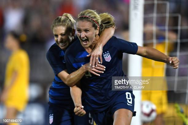USA's Lindsey Horan celebrates after scoring the tying goal and is hugged by USA's McCall Zerboni during the 2018 Tournament of Nations at Pratt...
