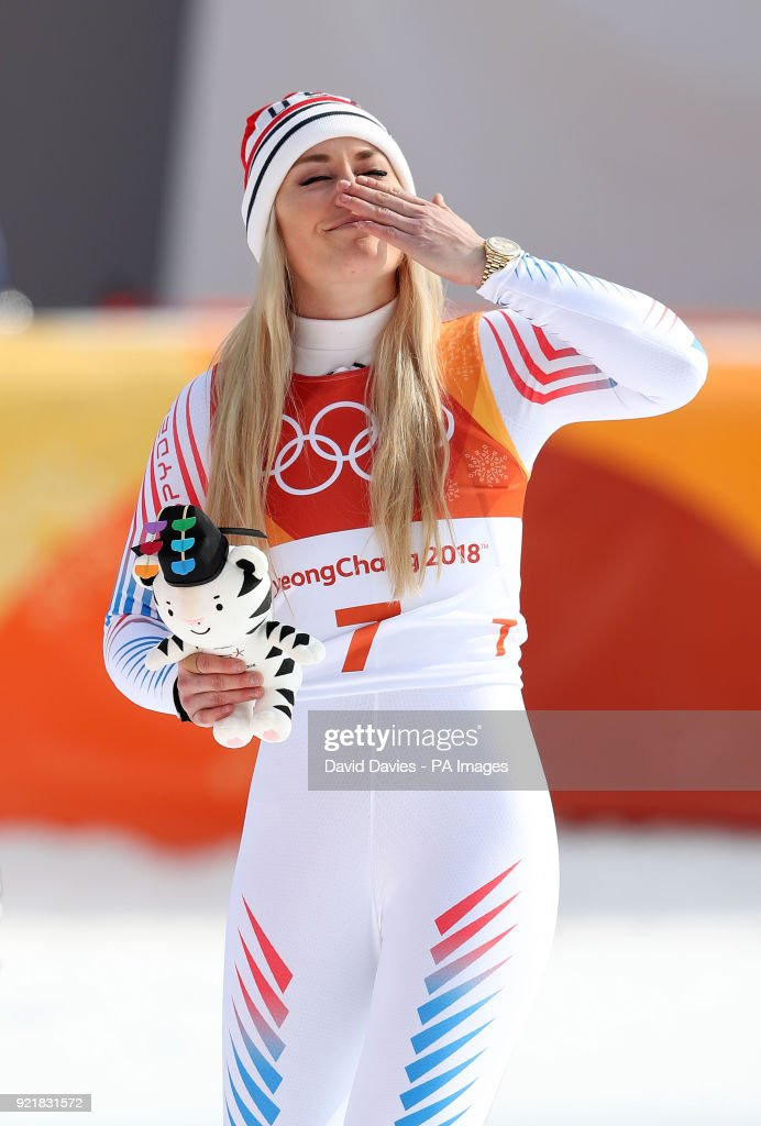 USA's Lindsey Vonn blows a kiss to the crowd after finishing third in the Womens Downhill at the Jeongseon Alpine Centre during day twelve of the PyeongChang 2018 Winter Olympic Games in South Korea.