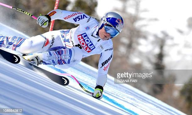 USA's Lindsey Vonn competes during the Women's Super G event of the FIS Alpine skiing World Cup in Cortina d'Ampezzo Italian Alps on January 20 2019