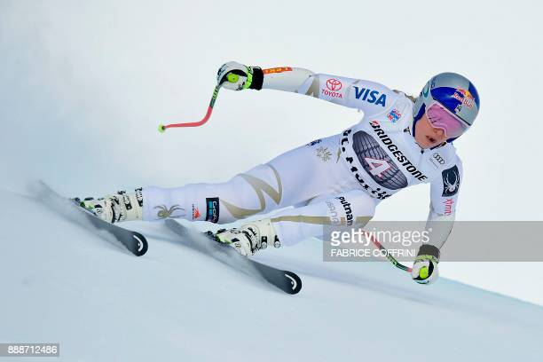 USA's Lindsey Vonn competes in the Ladies' SuperG race during the FIS Alpine Skiing World Cup in St Moritz on December 9 2017 / AFP PHOTO / Fabrice...