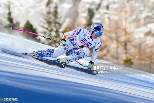 S Lindsey Vonn competes in the Women's Super G event of the FIS Alpine skiing World Cup in Cortina d'Ampezzo, Italian Alps, on January 20, 2019.