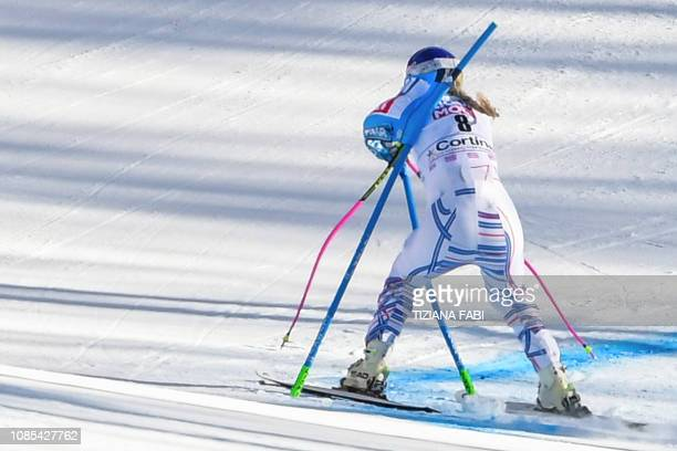 S Lindsey Vonn crashes into a gate during the Women's Super G event of the FIS Alpine skiing World Cup in Cortina d'Ampezzo, Italian Alps, on January...