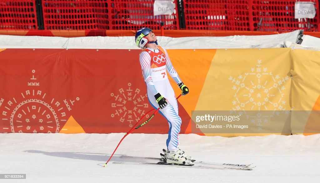 USA's Lindsey Vonn in the Womens Downhill at the Jeongseon Alpine Centre during day twelve of the PyeongChang 2018 Winter Olympic Games in South Korea.