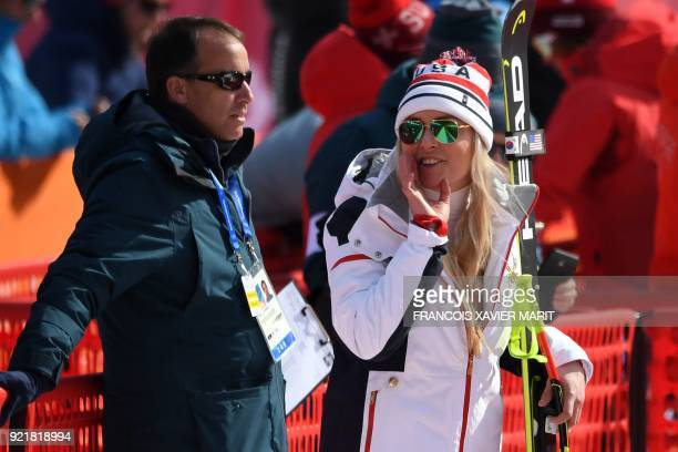 USA's Lindsey Vonn jokes after the women's Downhill at the Jeongseon Alpine Center during the Pyeongchang 2018 Winter Olympic Games on February 21...