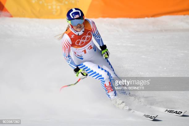 TOPSHOT USA's Lindsey Vonn reacts after crossing the finish line of the Women's Alpine Combined Downhill at the Jeongseon Alpine Center during the...