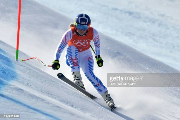 TOPSHOT USA's Lindsey Vonn takes part in the 3rd training of the Alpine Skiing Women's Downhill at the Jeongseon Alpine Center during the Pyeongchang...