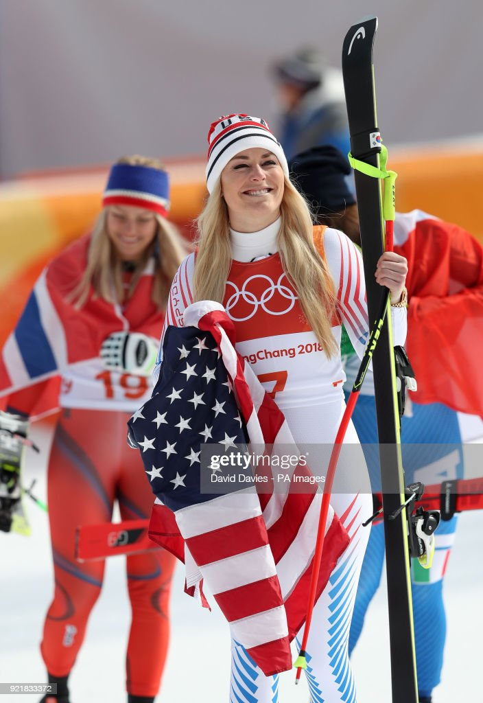 USA's Lindsey Vonn waves the crowd after finishing third in the Womens Downhill at the Jeongseon Alpine Centre during day twelve of the PyeongChang 2018 Winter Olympic Games in South Korea.