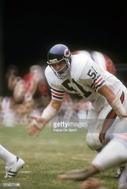 ATLANTA GA CIRCA 1970's Linebacker Dick Butkus of the Chicago Bears in action against the Atlanta Falcons circa 1970's during an NFL football game at...
