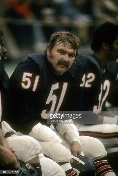 CHICAGO IL CIRCA 1970's Linebacker Dick Butkus of the Chicago Bears in this portrait watching the action from the bench circa early 1970's during an...