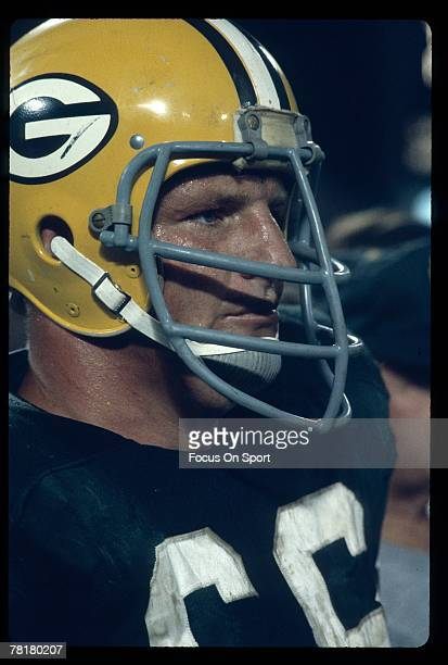 S: Linebacker Ray Nitschke of the Green Bay Packers stands on the sideline during a circa 1960's NFL football game at Lambeau Field in Green Bay,...