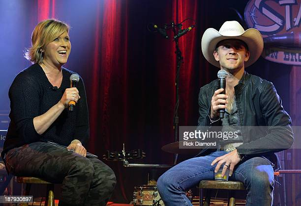ACM's Lisa Lee interviews Singer/Songwriter Justin Moore during a taping of ACM Sessions With Justin Moore at The Stage on November 13 2013 in...