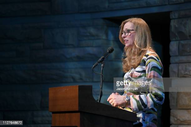 CMT's Lisa Purcell speaks onstage during the Twelfth Annual Louise Scruggs Memorial Forum honoring Bebe Evans and Marcie Allen Van Mol hosted by the...