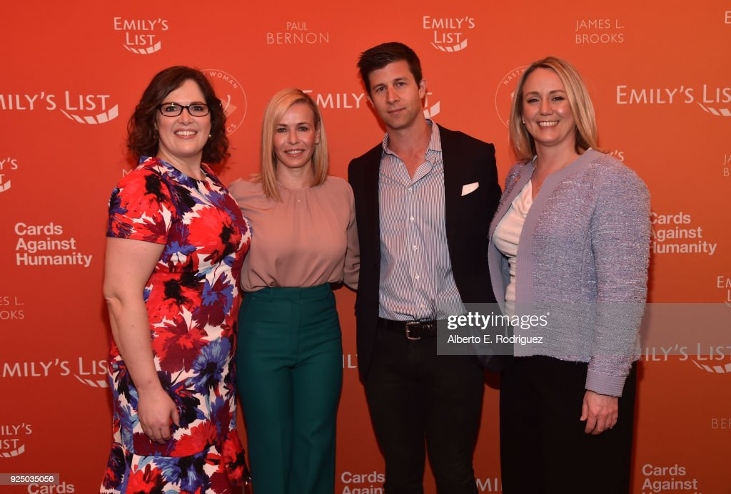 EMILY's List Executive Director Emily Cain, Co-Chair Chelsea Handler, Paul Bernon, EMILY's List Creative Council Founder and Co-Chair and Stephanie Schriock, President of EMILY's List, and attend EMILY's List Pre-Oscars Brunch and Panel on February 27, 2018 in Los Angeles, California.