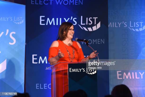 EMILY's List Executive Director Emily Cain speaks onstage during Raising Our Voices Supporting More Women in Hollywood Politics at Four Seasons Hotel...