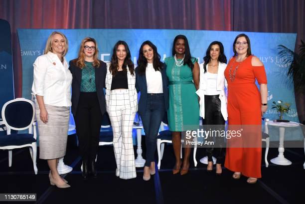 EMILY's List President Stephanie Schriock Amber Tamblyn Olivia Munn Melissa Fumero Kim Foxx Lisa Ling and EMILY's List Executive Director Emily Cain...