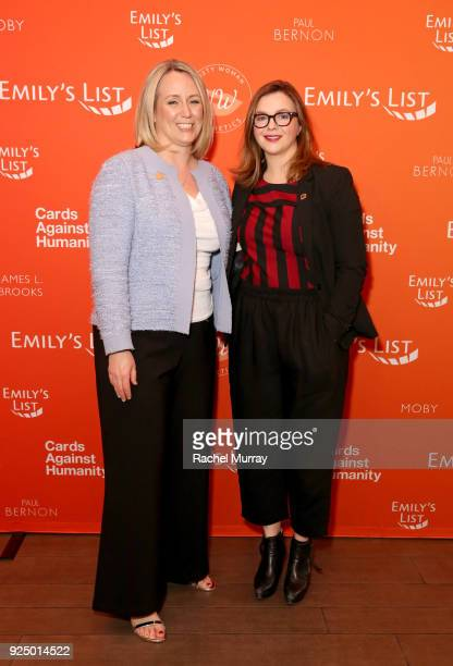 EMILY's List President Stephanie Schriock and Amber Tamblyn attend EMILY's List's 'Resist Run Win' PreOscars Brunch on February 27 2018 in Los...