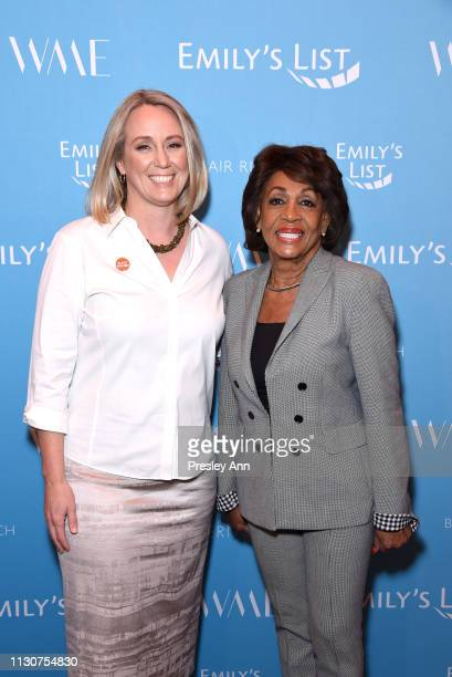 EMILY's List President Stephanie Schriock and Maxine Waters attend Raising Our Voices Supporting More Women in Hollywood Politics at Four Seasons...