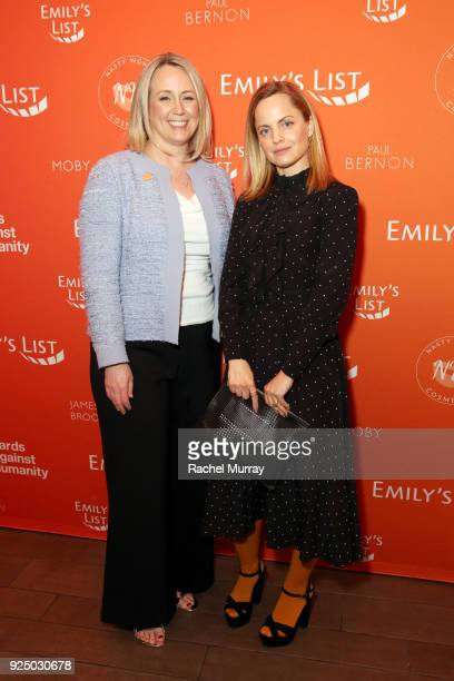 EMILY's List President Stephanie Schriock and Mena Suvari attend EMILY's List's Resist Run Win PreOscars Brunch on February 27 2018 in Los Angeles...