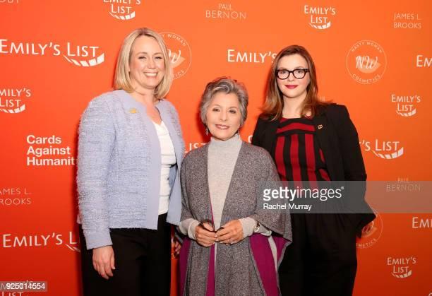 EMILY's List President Stephanie Schriock Former US Senator Barbara Boxer and Amber Tamblyn attend EMILY's List's Resist Run Win PreOscars Brunch on...