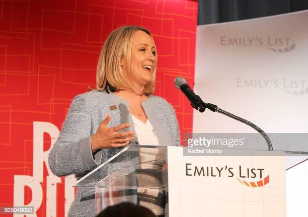 EMILY's List President Stephanie Schriock speaks onstage at EMILY's List's Resist Run Win PreOscars Brunch on February 27 2018 in Los Angeles...