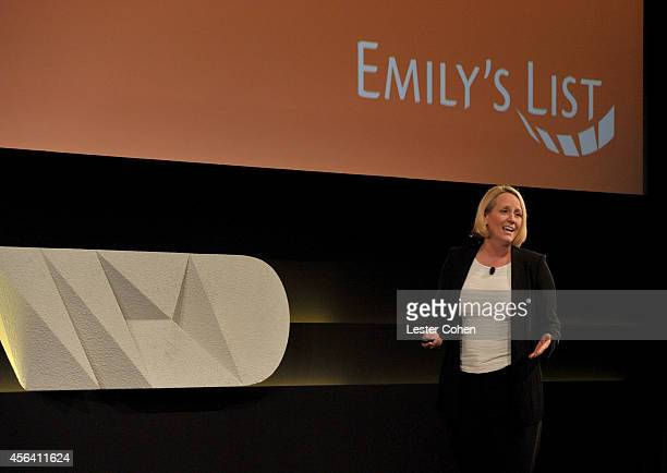 EMILY's List President Stephanie Schriock speaks onstage at the WIRED by Design retreat at Skywalker Sound on September 30 2014 in Marin County...