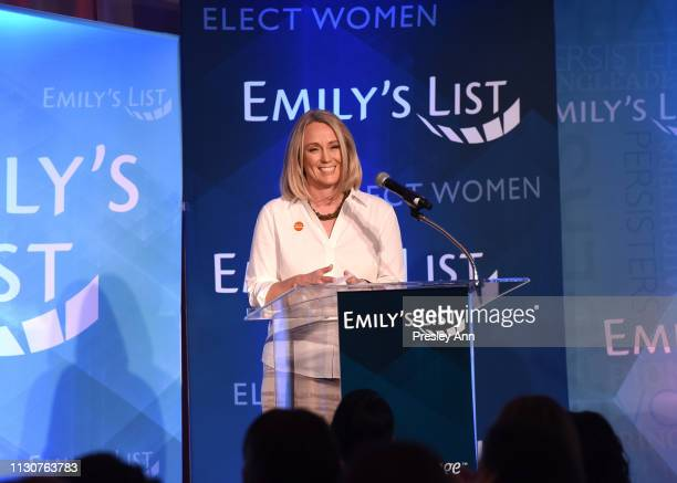 EMILY's List President Stephanie Schriock speaks onstage during Raising Our Voices Supporting More Women in Hollywood Politics at Four Seasons Hotel...