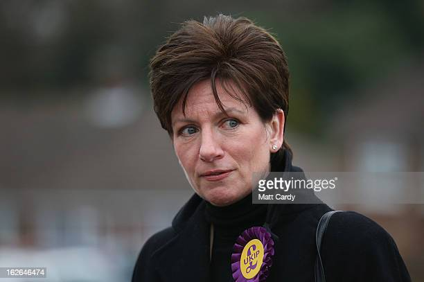 UKIP's local candidate Diane James campaigns for the forthcoming byelection on February 25 2013 in Eastleigh England The byelection is being fought...
