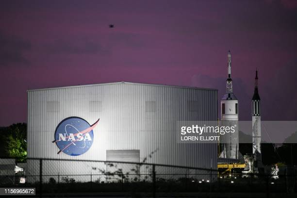 NASA's logo is seen at Rocket Park during an Apollo 11 50th anniversary celebration at Space Center Houston on July 20 in Houston Texas