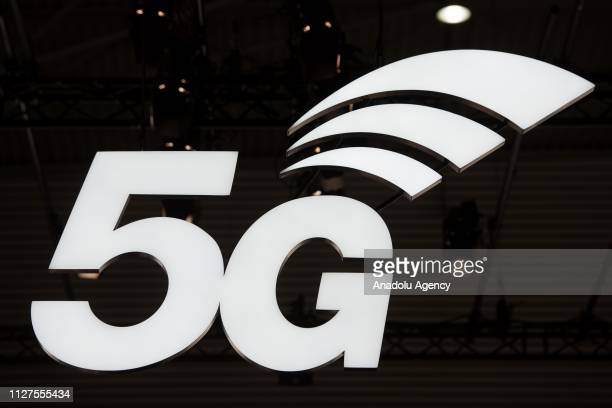 5G's logo is seen at the second day of Mobile World Congress 2019 in Barcelona Spain on February 26 2019
