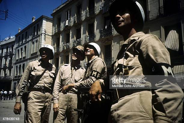 MP's look on in the Casbah of Algiers Algeria Off limits to US servicemen and patrolled by Military Police French and Algerian Police
