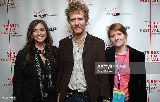 S Loretta Munoz and musicians Glen Hansard and Marketa Irglova pose at the ASCAP Tribeca Music Lounge held at the Canal Room during the 2007 Tribeca...