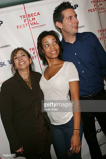 ASCAP's Loretta Munoz and singer Alice Smith with her guitar player pose at the ASCAP Tribeca Music Lounge held at the Canal Room during the 2007...