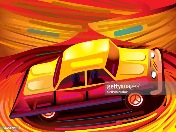 1950's Low Rider style Car in Swirling Orange cartoon Landscape Illustration