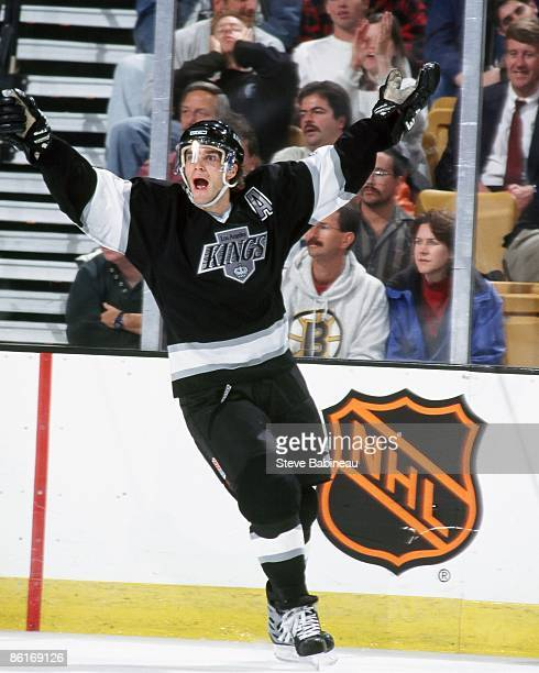 Luc Robitaille of the Los Angeles Kings celebrates goal against the Boston Bruins at the Fleet Center in Boston.