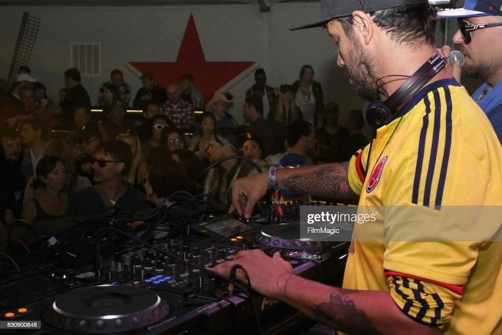 DJ's Luca Cazal and Ali Love of Infinity Ink perform in The House by Heineken tent during the 2017 Outside Lands Music And Arts Festival at Golden Gate Park on August 12, 2017 in San Francisco, California.